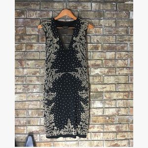Betsy and Adam black mesh gold beaded dress